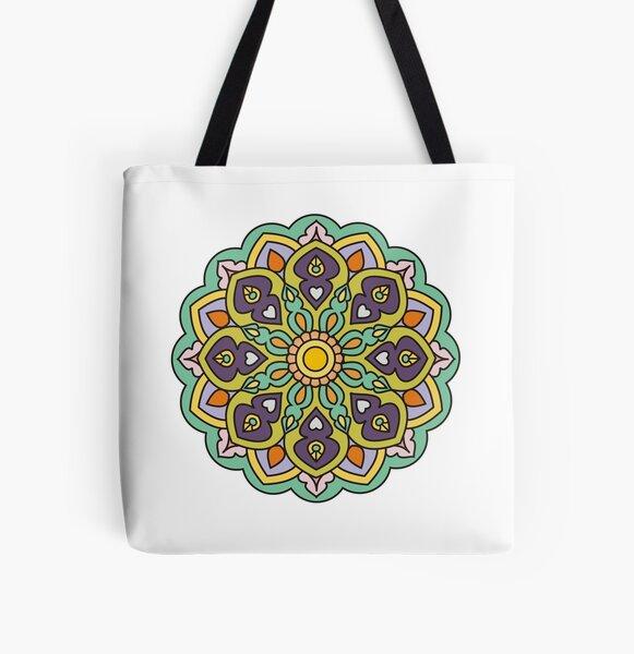 Turquoise Mandala All Over Print Tote Bag