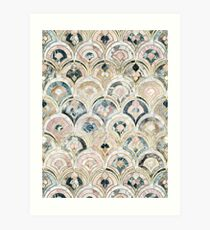 Art Deco Marble Tiles in Soft Pastels Art Print