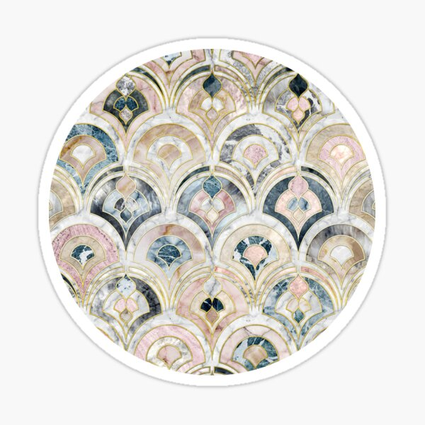Art Deco Marble Tiles in Soft Pastels Sticker