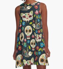 Day of the Dead, a traditional holiday in Mexico.  A-Line Dress