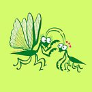 A couple of praying mantises dangerously falling in love by Zoo-co