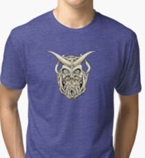 Horned Skull (color) Tri-blend T-Shirt