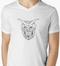 Horned Skull (black) Men's V-Neck T-Shirt