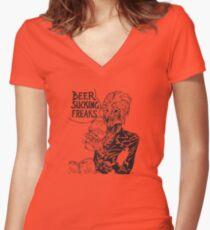 Beer Sucking Freaks (black) Women's Fitted V-Neck T-Shirt
