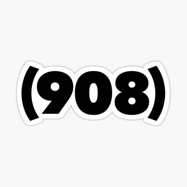 (908) black Sticker