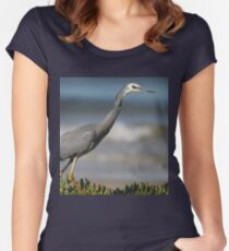 white face grey heron Women's Fitted Scoop T-Shirt