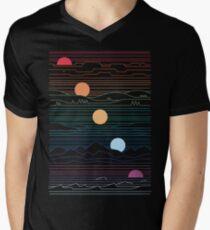 Viele Länder unter einer Sonne T-Shirt mit V-Ausschnitt für Männer