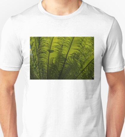 Tropical Green Rhythms - Feathery Fern Fronds - Horizontal View Upwards Right T-Shirt