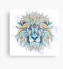 Ethnic Blue Lion Metal Print