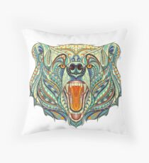 Head Of The Growling Bear Throw Pillow