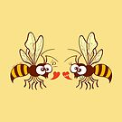Couple of beautiful bees discussing about love by Zoo-co