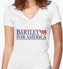 Bartlet for America Slogan Women's Fitted V-Neck T-Shirt