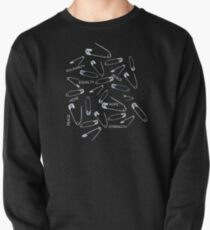 Safe with me safety pins on black with activist slogans Pullover