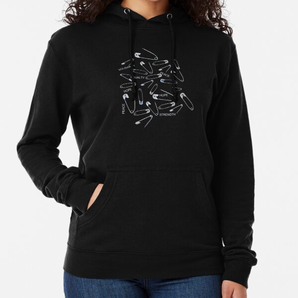 Safe with me safety pins on black with activist slogans Lightweight Hoodie