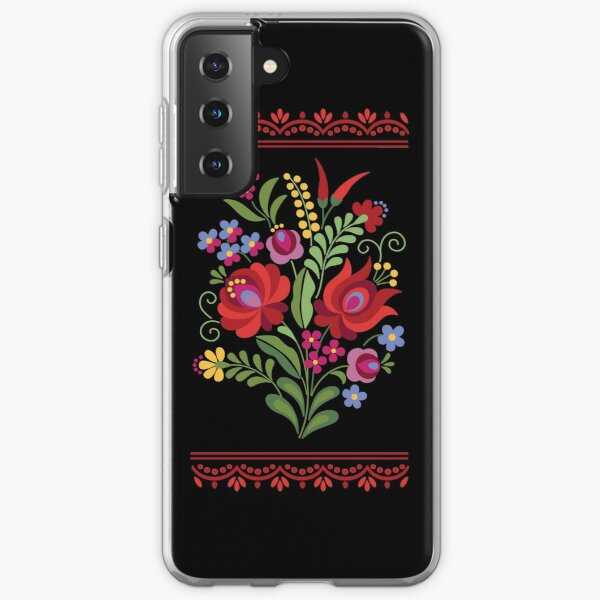 Hungarian Folk Design Red Peppers on Black Samsung Galaxy Soft Case