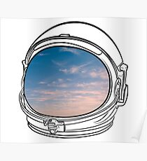 Blue Sky on the Moon on black  Poster