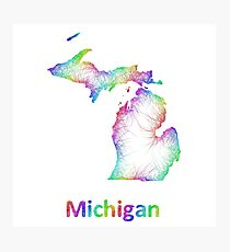 Rainbow Michigan map Photographic Print