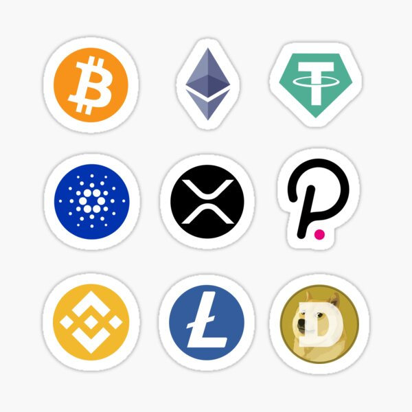 Cryptocurrency Collection - Bitcoin, Ethereum, Tether, Cardano, XRP, Polkadot, Binance Coin, Litecoin, Dogecoin - cryptocurrencies Sticker
