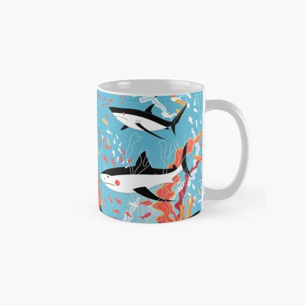 Graphic pattern of swimming sharks Classic Mug