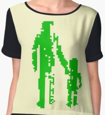 1 bit pixel pedestrians (green) Chiffon Top