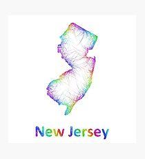 Rainbow New Jersey map Photographic Print