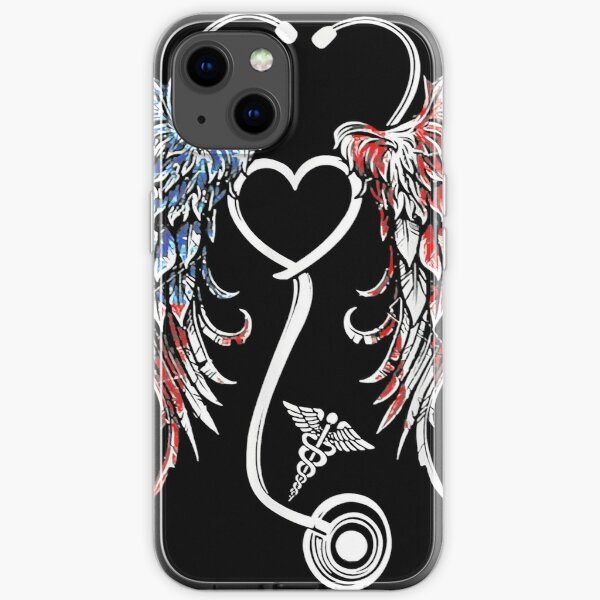 First Responder Nurse American US Flag Stethoscope Wings iPhone Soft Case
