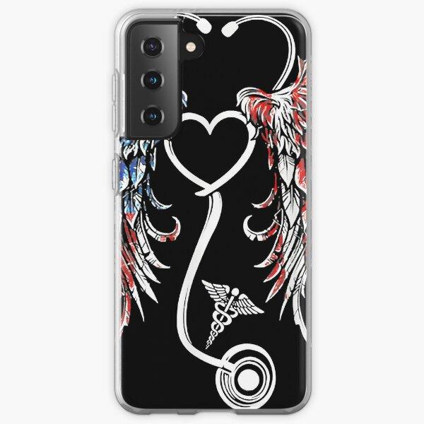 First Responder Nurse American US Flag Stethoscope Wings Samsung Galaxy Soft Case