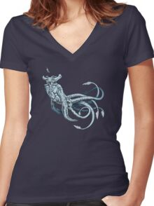 Sea Emperor Transparent Women's Fitted V-Neck T-Shirt