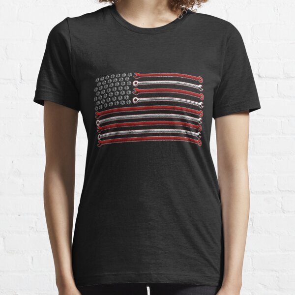 American Flag Wrenches Patriotic Car Lover Mechanic Carguy Gear Essential T-Shirt