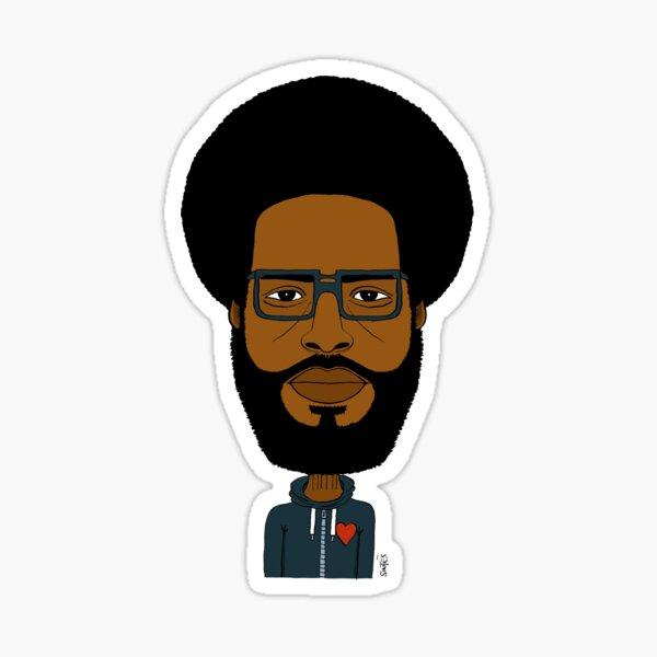 Portrait dessiné de batteur de hip hop. (Color/ Sweat capuche) Sticker