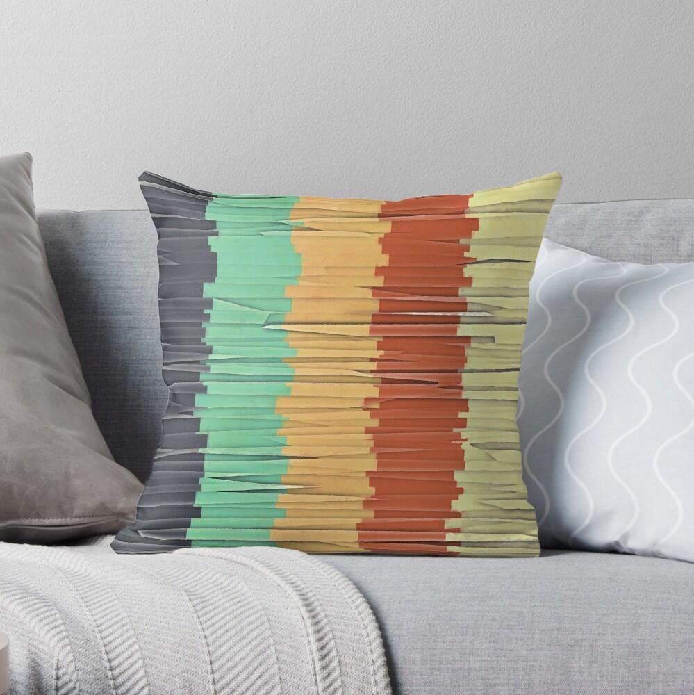 Shreds of Color Throw Pillow