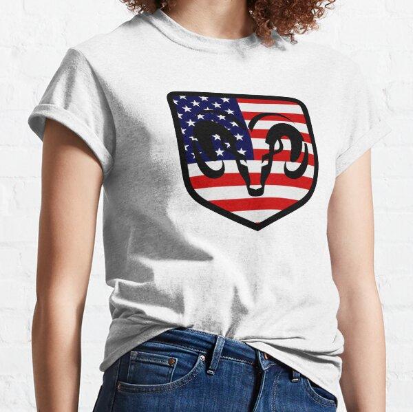 Dodge Ram Head American Flag Logo Classic T-Shirt