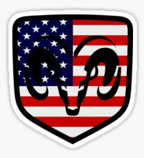 Dodge Ram Head American Flag Logo Sticker