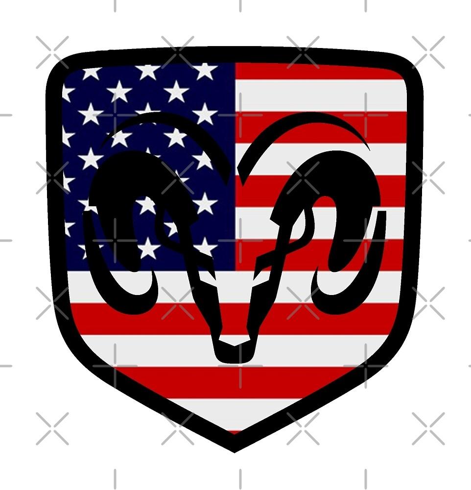 Dodge Ram Head American Flag Logo by Matt H