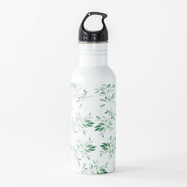 Watercolor leaves green - pattern Water Bottle