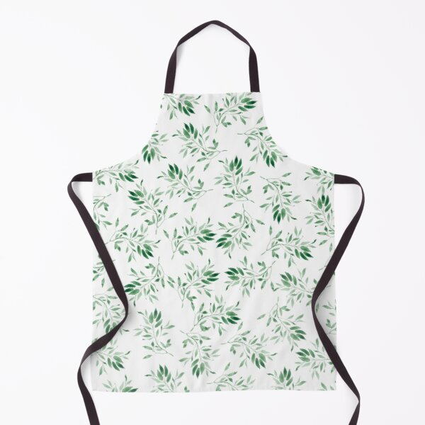 Watercolor leaves green - pattern Apron