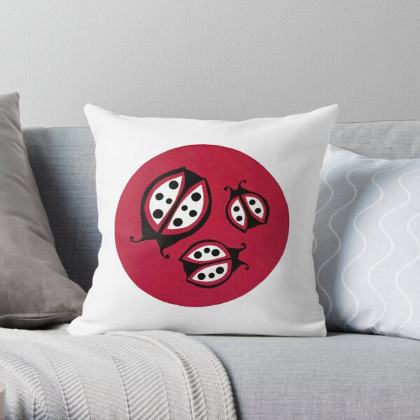 Retro Ladybugs Vintage Insects Red Black & White Bugs Throw Pillow