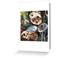 Plants, Nature, Honesty, Organic, Autumnal, Watercolour Painting Greeting Card