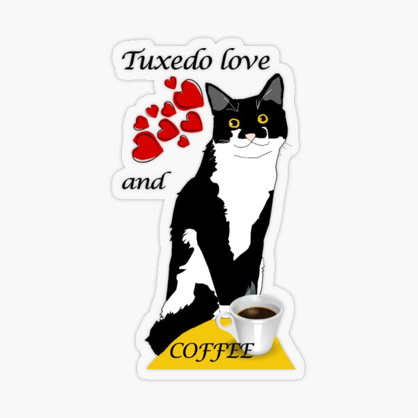 Cute Tuxedo Cat  love and Coffee Because murder is wrong Transparent Sticker
