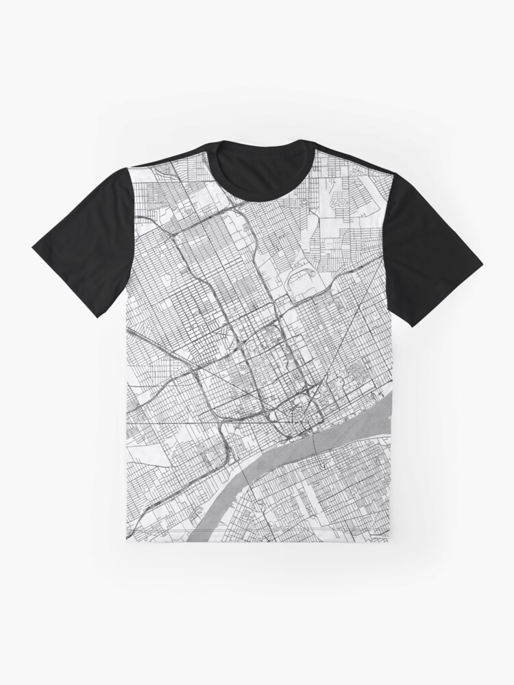 Alternate view of Detroit Map Line Graphic T-Shirt