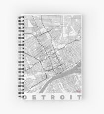 Detroit Map Line Spiral Notebook