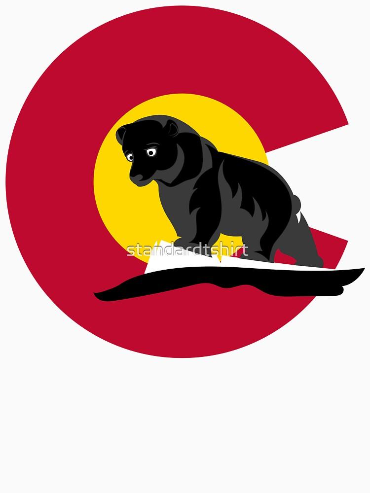 Colorado Black Bear in front of Colorado Flag  by standardtshirt