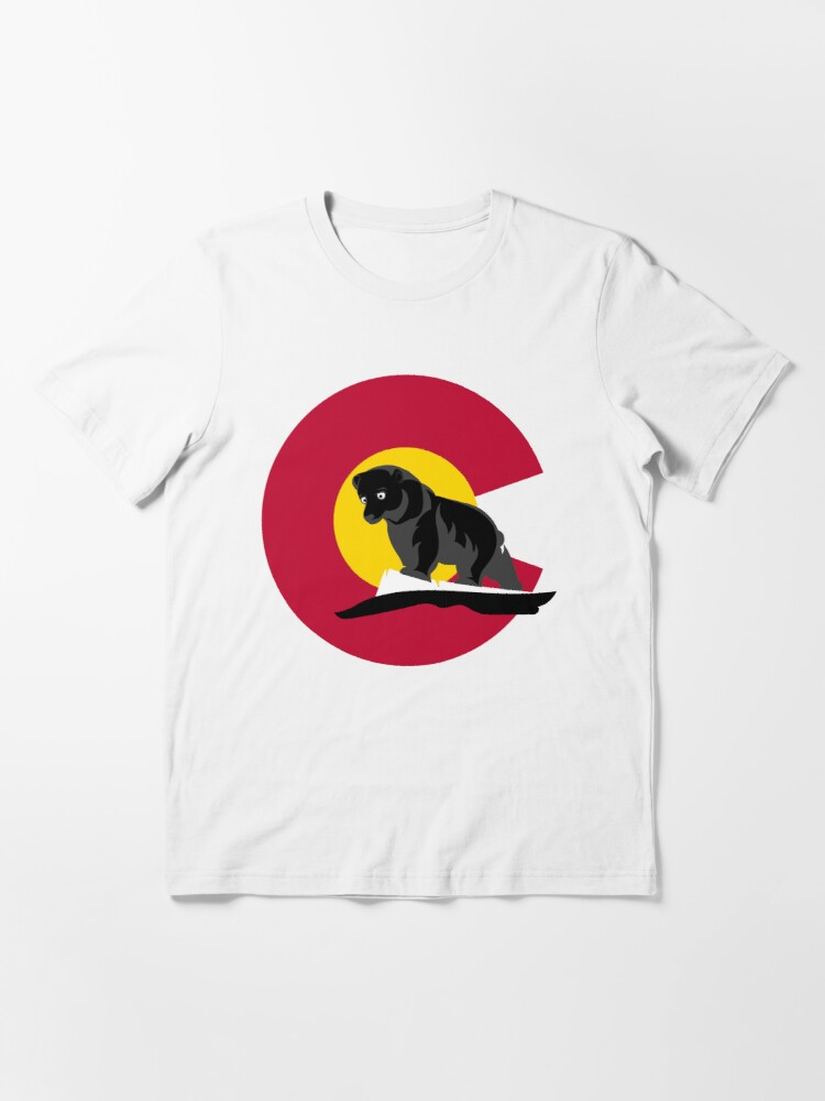 Alternate view of Colorado Black Bear in front of Colorado Flag  Essential T-Shirt