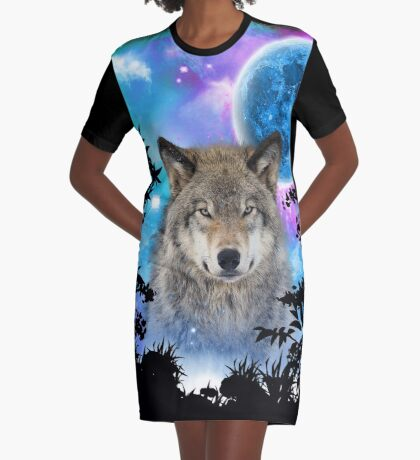 Timber Wolf MidNight Forest Graphic T-Shirt Dress