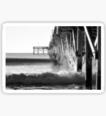 Crashing Waves At Pier B&W Sticker