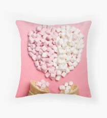 Marshmallows heart and ice-cream cones Throw Pillow