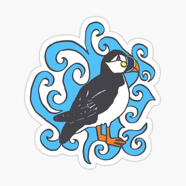 Puffin in Blue Swirls Sticker