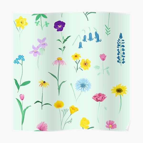 British Wildflower Pattern Poster