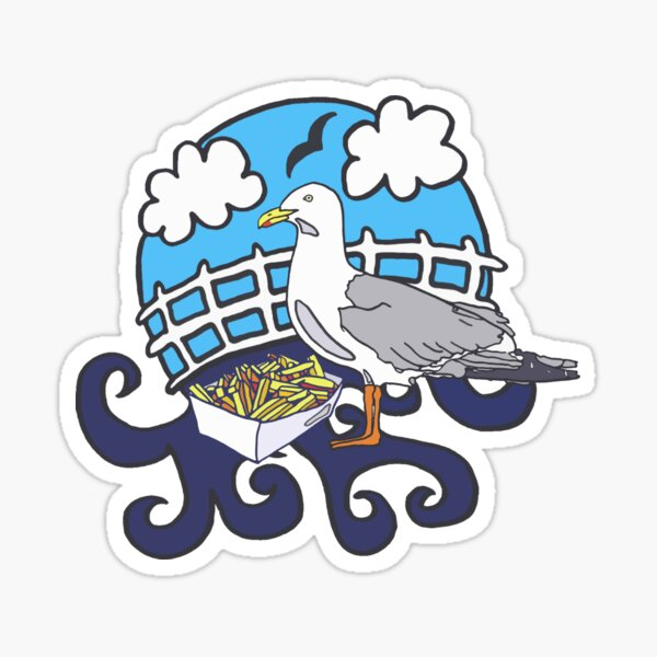 Seagull and Chips Sticker