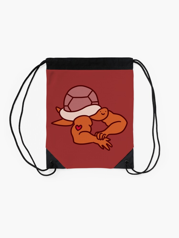 Alternate view of Turtle with Buff Arms Drawstring Bag
